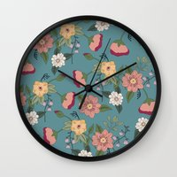 vintage floral Wall Clocks featuring Floral Vintage by Juliana Zimmermann