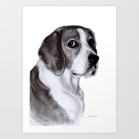 beagle Art Prints featuring Beagle by Danguole Serstinskaja