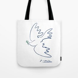 Pablo Picasso Dove Of Peace In Blue 1949 Artwork Reproduction Tote Bag