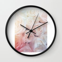 White Rose Bouquet Wall Clock