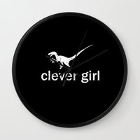 jurassic park Wall Clocks featuring Clever Girl - Jurassic Park by Geek Bias