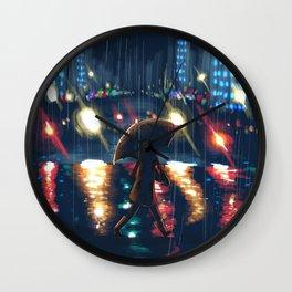 City Night Rain Wall Clock