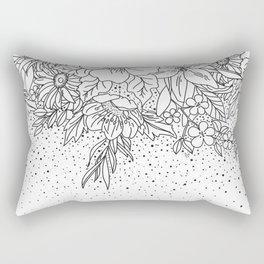 Cute Black White floral doodles and confetti design Rectangular Pillow