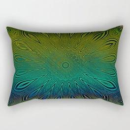 Blue Green Weathered Floral Pattern Rectangular Pillow