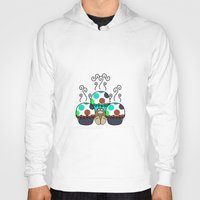 polkadot Hoodies featuring Cute Monster With Cyan And Blue Polkadot Cupcakes by Mydeas