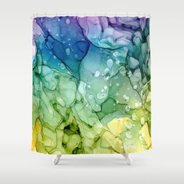 Purple Blue Green Yellow Abstract 2621 Alcohol Ink Painting by Herzart Shower Curtain