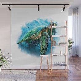 Abstract Watercolor Sea Turtle on White 3 Minimalist Coastal Art - Coast - Sea - Beach - Shore Wall Mural