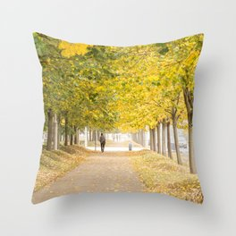 Walking under the trees in Autumn I Throw Pillow