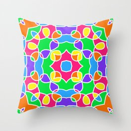 Rainbow Mosaic Symmetrical Swirls Kaleidoscope 2 Throw Pillow
