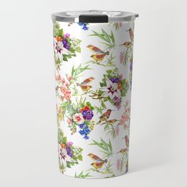 Watercolor Wild exotic birds on flowers seamless pattern on white background vector illustration Travel Mug