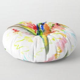 Tropical Hummingbird Floor Pillow