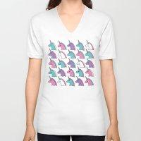 unicorns V-neck T-shirts featuring candy unicorns by Neringa Katt