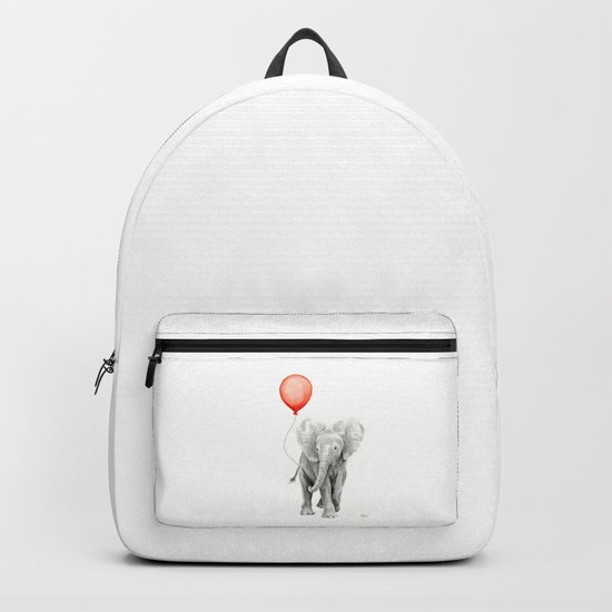 Baby Elephant Watercolor Red Balloon Nursery Decor Backpack