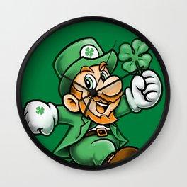 Lucky Mario Leprechaun Wall Clock