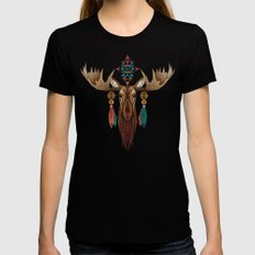 moose LARGE Black Womens Fitted Tee