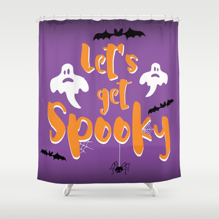 Lets Get Spooky Halloween Quote Shower Curtain