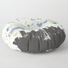 Seahawks Seattle Skyline Floor Pillow