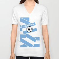 argentina V-neck T-shirts featuring Argentina Football by mailboxdisco