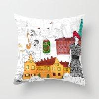 copenhagen Throw Pillows featuring Copenhagen by Nanu Illustration