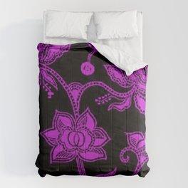 Vintage Floral Dazzling Violet and Black Comforters