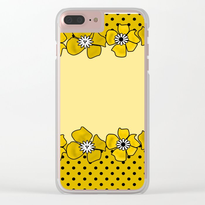 Yellow floral pattern . Clear iPhone Case