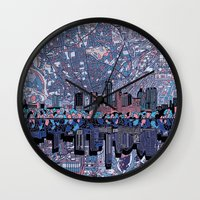 austin Wall Clocks featuring austin texas city skyline by Bekim ART