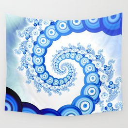 Chinese Sky Blue and Cloud White Tentacle Spiral Wall Tapestry