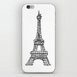 Eiffel Tower Graphic Pen Sketch iPhone Skin