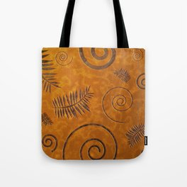 Graphic Fossil Leaf and Shell Shapes Red Sand Pattern Tote Bag