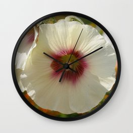White and Red Hollyhock flower Wall Clock