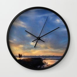Evening by the sea Wall Clock