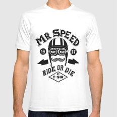 Mr. Speed MEDIUM Mens Fitted Tee White