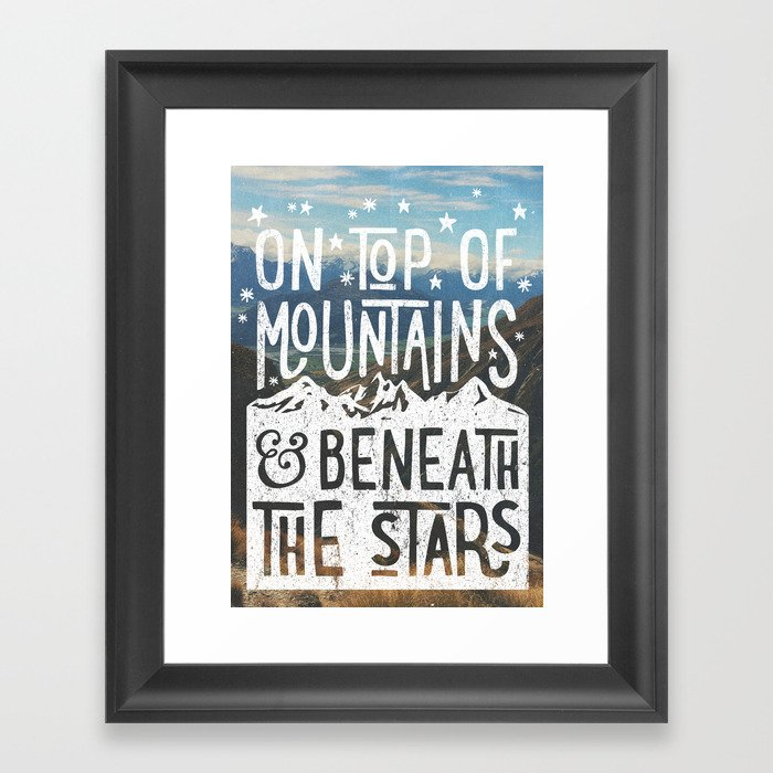 on top of mountain and beneath the stars Framed Art Print