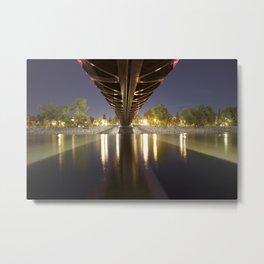 Peace Bridge at Night Calgary 3 Metal Print