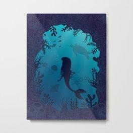 Mermaid Underwater Cave Metal Print