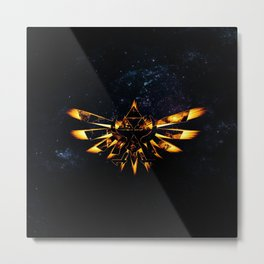 Zelda Triforce Red Flame Metal Print