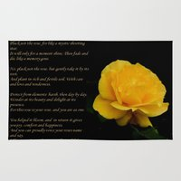 verse Area & Throw Rugs featuring Yellow Rose Greeting Card With Verse - Pluck Not the Rose by taiche