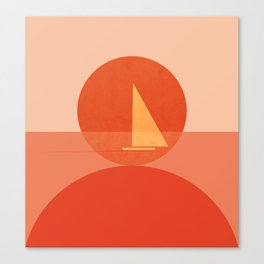 Abstraction_Sunset_Ocean_Sailing_Minimalism_001 Canvas Print