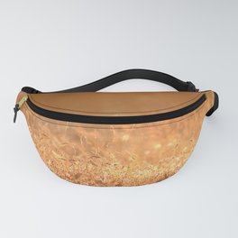Golden grass field in the summer mountain, sunset wildflowers Fanny Pack