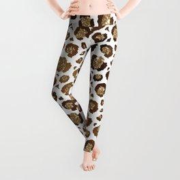 Gold Glitter Animal Print Pattern Leggings