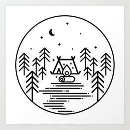 Camping in the Great Outdoors / Geometric / Nature / Camping Shirt / Outdoorsy Art Print