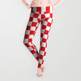 Red Checkerboard Pattern Leggings