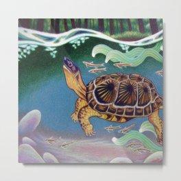Wood Turtle Color Pencil Artwork Metal Print