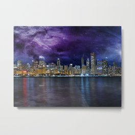 Spacey Chicago Skyline Metal Print