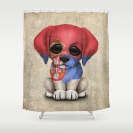 Cute Puppy Dog with flag of Serbia Shower Curtain