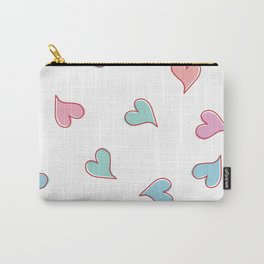 Pink and Blue Love Hearts Pattern White Background Carry-All Pouch