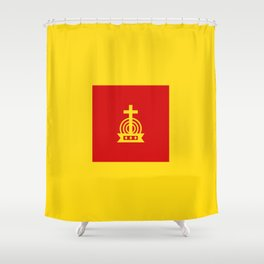 Henny Maestro - Red on Yellow Shower Curtain