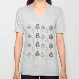 Tiny Forest | Green and Blue Trees Unisex V-Neck
