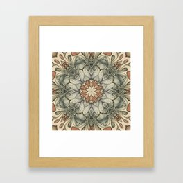 abstract flowers hand drawn and  kaleidoscope mandala Framed Art Print