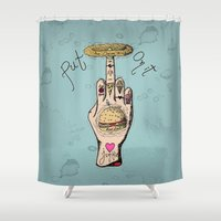 junk food Shower Curtains featuring Food Junkie by A+A Noisome Art